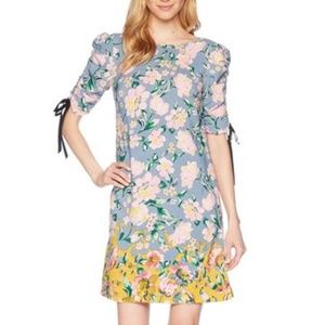 Donna Morgan Floral Ruched Sleeve Anthro Dress